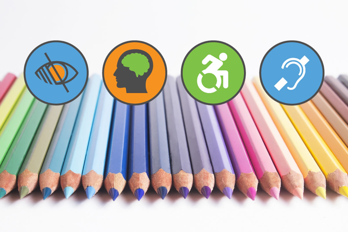 diverse set of colored pencils with web accessibility icons over