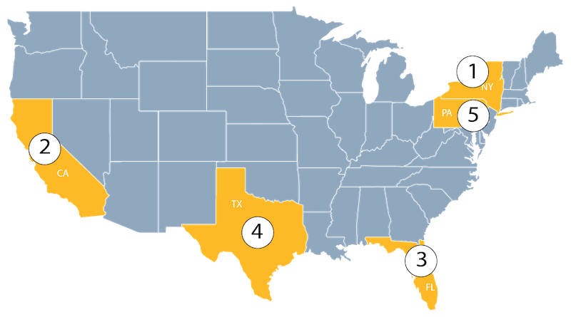 Map of US showing  ADA lawsuits by state
