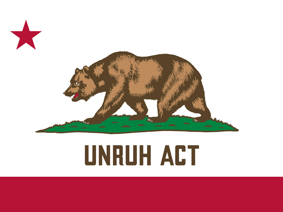 "California state flag with red star in corner and brown bear in center. ""Unruh"" is written beneath the bear."
